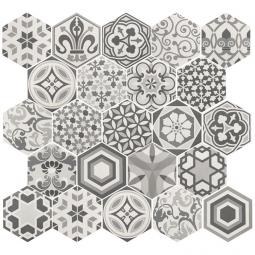 HEXATIL - HARMONY B&W - Carrelage 17,5X20 cm Hexagonal patchworck décors mate blanc noir