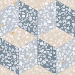 FARNESE CAVOUR AZUL 30 x 30 cm - Carrelage aspect carreaux de ciment fond terrazzo