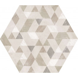 URBAN FOREST NATURAL  - Carrelage 29,2 x 25,4 cm Hexagonal à motif géométrique béton Crème