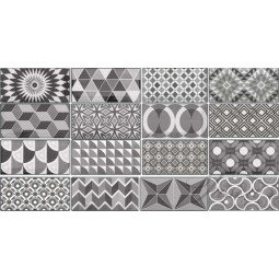 METRO PATCHWORK B&W - Faience 7,5x15 cm patchwork métro Parisien gris