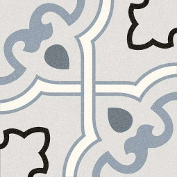 ALAMEDA BUCARELI CIELO  Carrelage 20x20 cm aspect carreaux de ciment motif fleur.