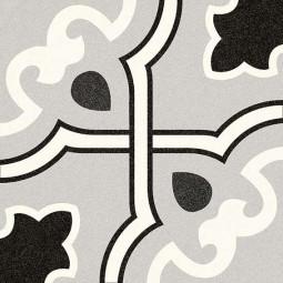 ALAMEDA BUCARELI GRIS  Carrelage 20x20 cm aspect carreaux de ciment motif fleur.