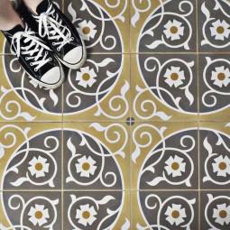 CAPRICE LOIRE aspect carreaux de ciment fleurs