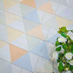 EFESO  CARIA BLANCO Carrelage aspect bois vieilli blanc cérusé motifs triangles