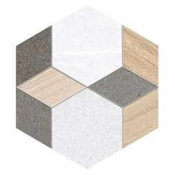 SEINE HEXAGONO MAYEIX MULTICOLOR - Carrelage hexagonal mélange de bois et de pierre