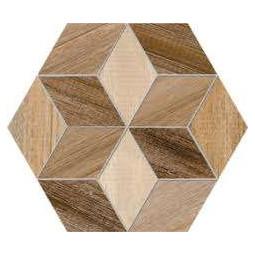SEINE HEXAGONO FRERET MULTICOLOR - Carrelage hexagona aspect bois motifs fleurs