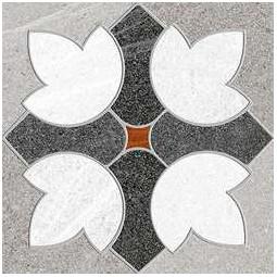 SEINE GARIGLIANO R GRIS - Carrelage aspect ciment motif fleurs