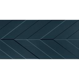 4D CHEVRON DEEP BLUE - 40x80 cm - Faïence à relief chevron bleu pétrole mate