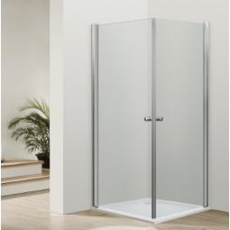 Paroi accès d'angle portes battantes chromées 90x90 cm  -  VENUS