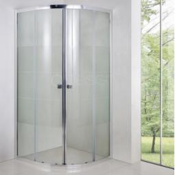 Paroi semi circulaire avec portes coulissantes 80x80 cm finition chromée - BELLAGIO