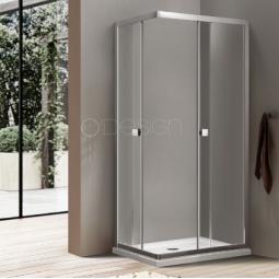 Paroi portes coulissantes accès d'angle 80x80 cm finition chromée - BELLAGIO