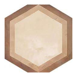 TERRA CORNICE HEXAGONAL - 25x21,6cm - BEIGE - Carrelage hexagonal motif linéaire