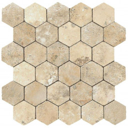 AIX HONEYCOMB TUMBLED BLANC, Mosaïque hexagonale aspect travertin