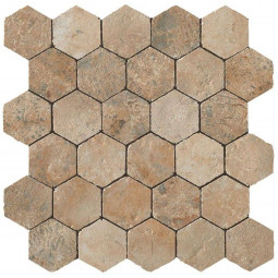 AIX HONEYCOMB TUMBLED BEIGE, Mosaïque hexagonale aspect travertin