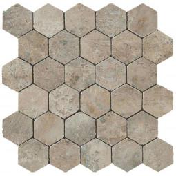 AIX HONEYCOMB TUMBLED GRIS, Mosaïque hexagonale aspect travertin
