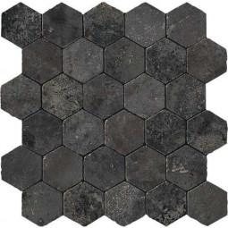 AIX HONEYCOMB TUMBLED FUMÉE, Mosaïque hexagonale aspect travertin