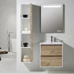 Ensemble Meuble suspendu 60 cm couleur chêne doré simple vasque et colonne de rangement- BIRDIE