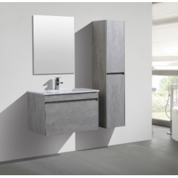 Ensemble Meuble suspendu couleur gris béton simple vasque - AGATE