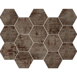 METAL STELL MOSAICO - Mosaïque hexagonale métallisé rouille.