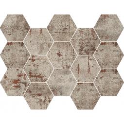 METAL SILVER MOSAICO - Mosaïque hexagonale métallisé gris.