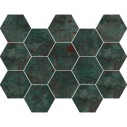 METAL SEAGREEN MOSAICO - Mosaïque hexagonale métallisé vert.