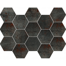 METAL TITANIUM MOSAICO - Mosaïque hexagonale métallisé anthracite.