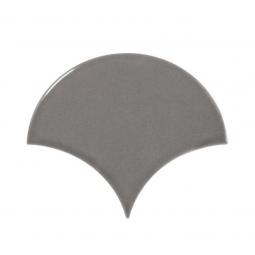 SCALE DARK GREY - Faience écaille de poisson 10,6x12 cm gris souris brillant