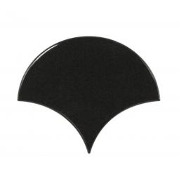 SCALE BLACK - Faience écaille de poisson 10,6x12 cm noir brillant