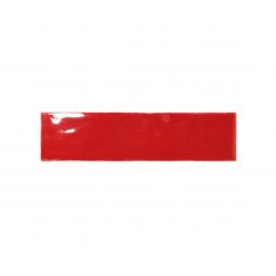 MASIA ROSSO - faïence zellige 7,5x30 cm rouge brillante