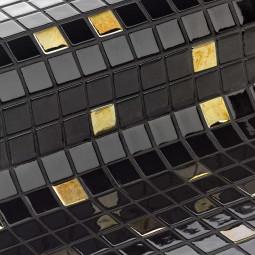 COCKTAIL ECLIPSE - Mosaïque en pâte de verre noir et doré 2,5x2,5 cm