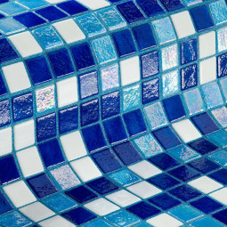 IRIS OASIS - Mosaïque en pâte de verre Blanche et bleu 2,5x2,5 cm