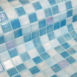 FOSFO AQUILA - Mosaïque en pâte de verre phosphorécente bleu et blanche 2,5x2,5 cm