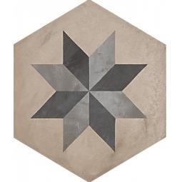 TERRA STELLA HEXAGONAL - 25x21,6 cm - GRIS - Carrelage hexagonal motif étoile