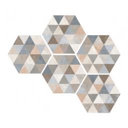 HEXAGONO FINGAL - Carrelage patchwork hexagonal à motifs triangles