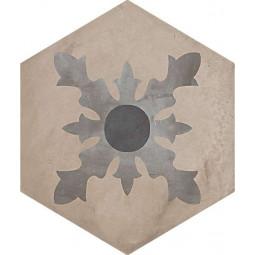 TERRA CARDINALE HEXAGONAL - 25x21,6 cm -GRIS -  Carrelage aspect ciment vieilli