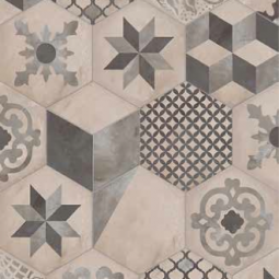 TERRA MIX PATCHWORK Froid - 25x21,6 cm - HEXAGONAL Carrelage aspect de ciment vieilli
