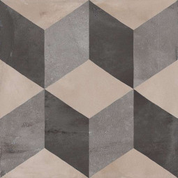TERRA CUBO GRIS - 20x20cm - Carrelage aspect ciment vieilli à motifs cubes géométriques