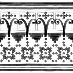 VODEVIL BELLARIA 2 BORDURE 20 x 20 cm MOTIF NOIR ET BLANC FEUTRÉ Carrelage aspect carreaux de ciment