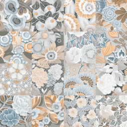 VODEVIL FLORE GRIS PATCHWORK 20 x 20 cm Carrelage aspect carreaux de ciment fleurs