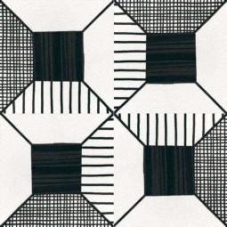 CAPRICE DECO - BLOCK B&W - Carrelage 20x20 cm aspect carreaux de ciment noir et blanc
