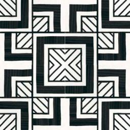 CAPRICE DECO - METROPOLITAN B&W - Carrelage 20x20 cm aspect carreaux de ciment géométrique noir et blanc
