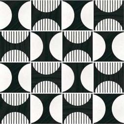 CAPRICE DECO - MOONLINE BW - Carrelage 20x20 cm aspect carreaux de ciment noir et blanc