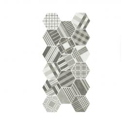 HEXATILE CEMENT - GEO GREY - Carrelage 17,5x20 cm patchwork hexagonal géométrique gris