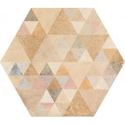 LAVERTON HEXAGONO BENENDEN MULTICOLOR Carrelage patchwork hexagone à motifs tirangles