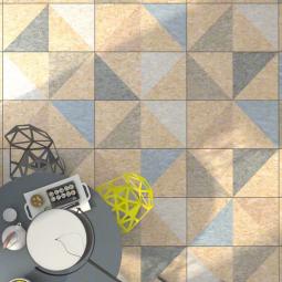 STRAND TELEGU MULTICOLOR Carrelage patchwork aspect bois OSB à motifs triangles
