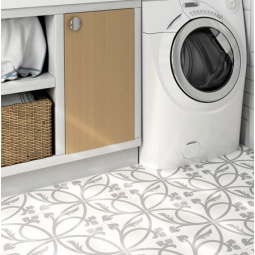 CAPRICE LIBERTY WHITE Carrelage aspect carreaux de ciment rosace Blanche