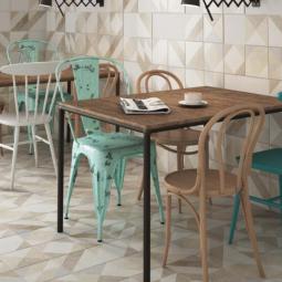ELEMENTS TAUPE - Carrelage patchwork imitation ciment géométrique