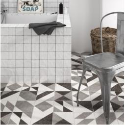 ELEMENTS GREY - Carrelage patchwork imitation ciment géométrique