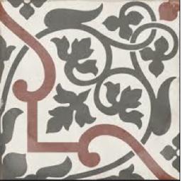 ART NOUVEAU - FOLIES BERGÈRE - Carrelage 20X20 cm aspect carreaux de ciment vieilli coloré