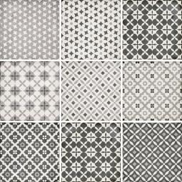 ART NOUVEAU - ALAMEDA GREY - Carrelage 20X20 cm aspect carreaux de ciment vieilli patchwork gris